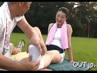 Curvaceous nipponese maid blowing big dink