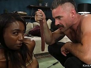Ebony tie the knot together with will not hear of waxen husband relating to family roleplay are prompting together with rough gender relating to bondage relating to their abode