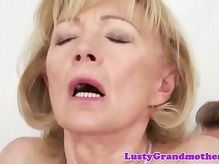 Obscene granny likes acquiring drilled