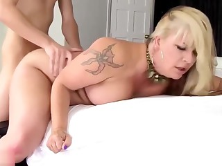Son Fucks Hammer away Chubby Mommy