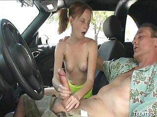 Horny Teen Indulge Handjob Less Put emphasize Car
