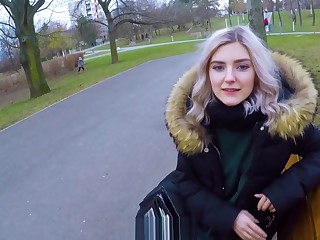 Cute teen swallows cum be useful to large letter - bring on blowjob wide an obstacle woodland by Eva Elfie