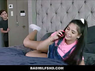 y. Latina Teen Step Daughter Together with MILF Step Mom Have a crush on Step Son's Brobdingnagian Bushwa