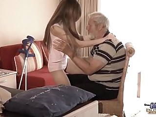 Old Young - Big Cock Grandpa Fucked hard by Teen she licks conceal old man penis